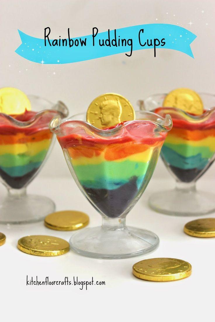 Kitchen Floor Crafts: Rainbow Pudding Cups
