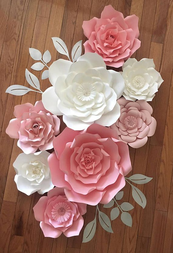 Set of 8 mixed sizes Giant Paper Flower Nursery Customize