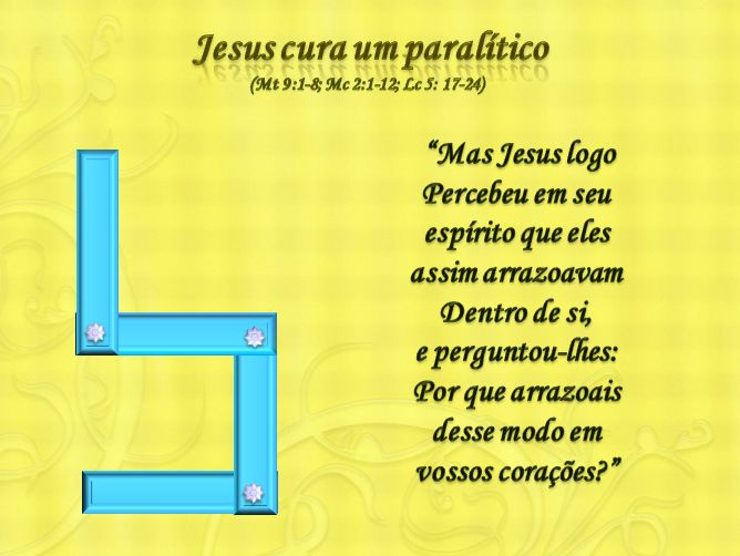 Jesus cura um paralítico história com 4 retangulos