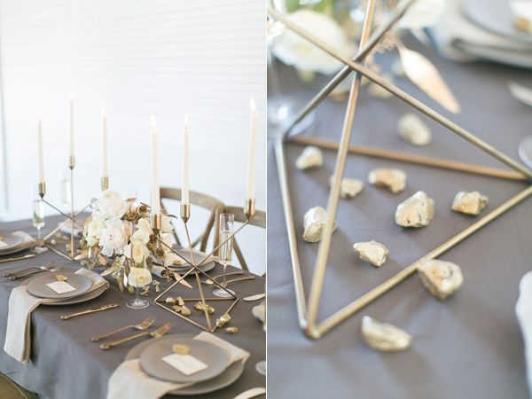 geo wedding ideas - photo by Amanda Jameson Weddings http://ruffledblog.com/modern-wedding-inspiration-with-grey-and-gold Modern gold wedding  Gold wedding decor Metallic wedding decor