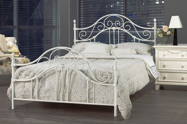 Iron Bed Frame Queen For Long Lasting Style White Metal Bed