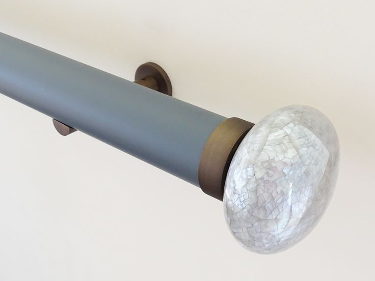 50mm Matt Lacquered pole 'lead' with Riva Ellipse finial 'grey marlin'