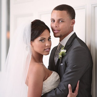 Former Davidson basketball star Stephen Curry with his bride, Ayesha. Photo: Kristin Vining, www.kristinvining.com.