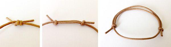 残しておいた紐で長さ調節できるブレスレットの留め方
