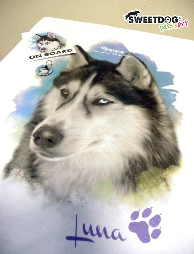 Dog: Luna (Siberian Husky) - Personalized Dog T-Shirt; Sticker; Dog Tag - https://www.facebook.com/SweetDogStore
