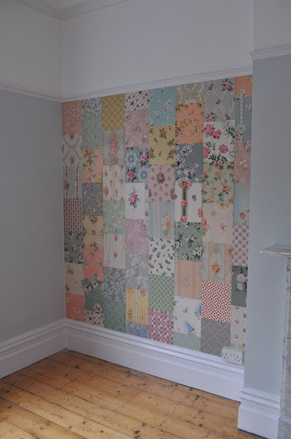 vintage wallpaper idea... Bet you could get the same effect with handkerchiefs/ swatches of fabric and starch