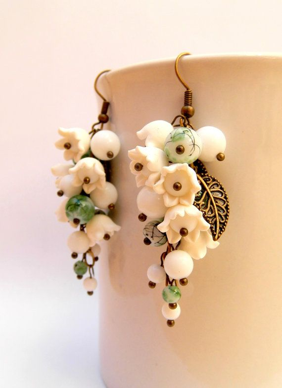 Flower Earrings White Green Flower Jewelry White by insoujewelry