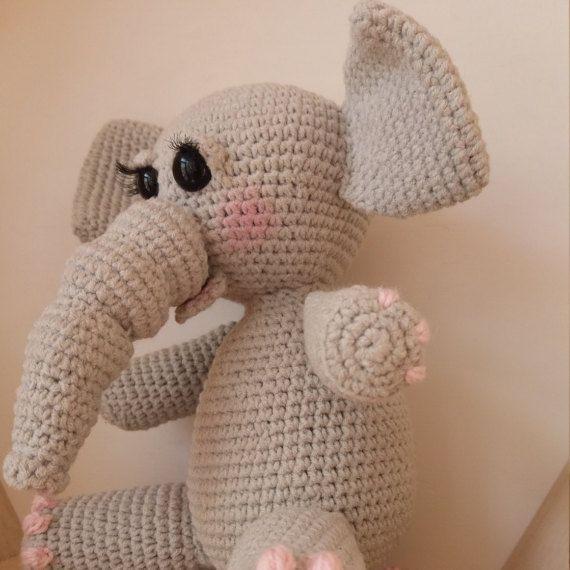 Handmade baby elephant, crochet toy, pink backpack, amigurumi