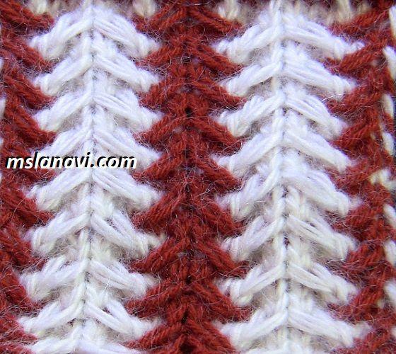 Рельефный узор спицами №124 http://mslanavi.com/2017/08/relefnyj-uzor-spicami-124/