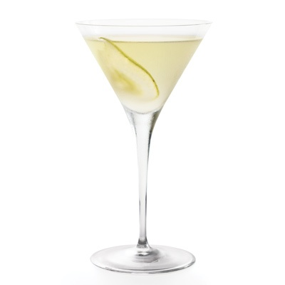 Peartini  2 oz Grey Goose La Poire Flavored Vodka  .25 oz Disaronno  .25 oz Simple syrup (one part sugar, one part water)  .5 oz Lemon juice  Garnish: Pear slice  Glass: Martini  PREPARATION    Add all the ingredients to a shaker and fill with ice. YUMMY~!!  Shake vigorously and strain into a chilled Martini glass. Garnish with a pear slice.