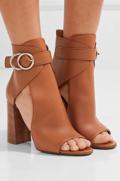 Heel measures approximately 100mm/ 4 inches Tan leather Buckle-fastening ankle strap Made in Italy #tananklestrapsheels