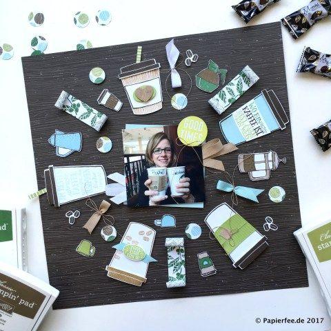 Stampin'Up!, Layout, Kaffee-Olé, Designerpapier Kaffeepause, Framelits Kaffeebecher