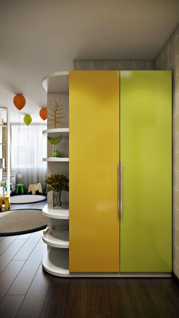 Bedroom Design, Green Yellow Door Cabinet For Kids Room Decor Ideas For Boys Also White Ornament Shelves Also Brown Laminate Floor: The Best Kids Room Decor Ideas for Boys