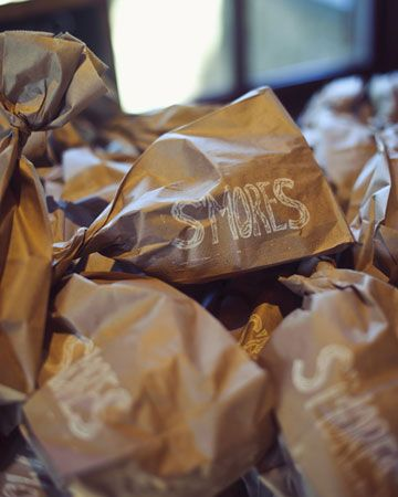 Homemade s'mores kits are the perfect favor for a rustic fall wedding