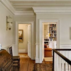 The trim color here is Ben Moore Navajo White, with James White (Farrow &  Ball) on the wall.