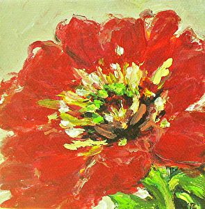 """Flower by Coral May Barclay Acrylic ~ 4"""" x 4"""""""