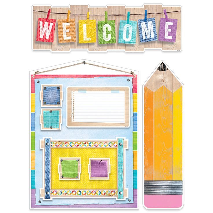 Welcome students back-to-school with Upcycle Style! In this bulletin board set, realistic looking rustic woodgrain is layered with colored textures, fun fabrics, metal accents, and playful patterns to