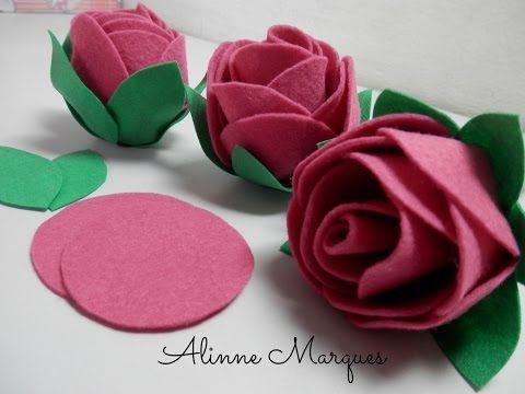Artesanato Feltro - Flor de Feltro Fácil Como Fazer - Segredos de Aline - YouTube