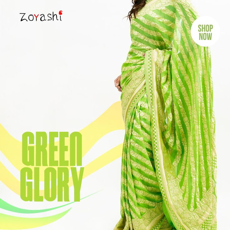 #DidYouKnow The green colour at the lowermost part of the flag represents the faith, fertility and prosperity of the nation. According to the philosophy of India, green colour is a festive and stabilizing color which represents the life and happiness. It indicates the greenery of earth all over the India. Celebrate Republic Day the Zoyashi way! #Green #FeelPatriotic #Zoyashi #Sarees #Indian #Apparel #HandmadeWithLove #MadeInIndia #GoGreen #RockThisLook