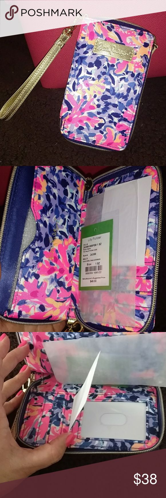 Lilly Pulitzer Tiki Palm phone case NWT cute phone case with card slots for IDs and credit cards in multi Coco coral crab pattern Lilly Pulitzer Accessories Phone Cases
