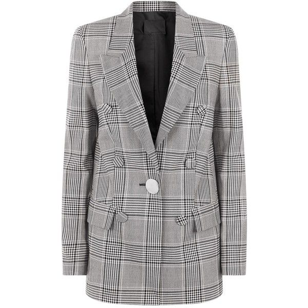 Alexander Wang Single-Breasted Check Blazer ($1,770) ❤ liked on Polyvore featuring outerwear, jackets, blazers, alexander wang, lightweight blazer, checked blazer, light weight jacket and single breasted jacket