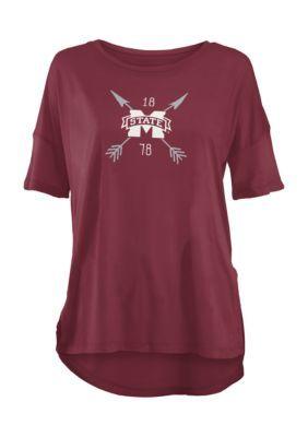 Royce Mississippi State University Arrow Printed Short Sleeve Tee - Maroon - Xl
