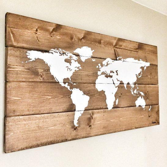 Transitional Nursery With Rustic Wood Wall: Rustic Wood World Map, Rustic Decor, Farmhouse Decor