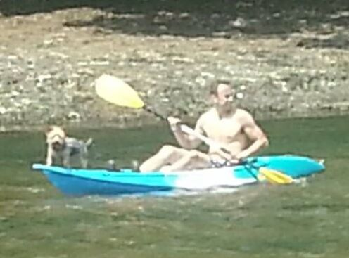 Kayaking dog! She was not happy.