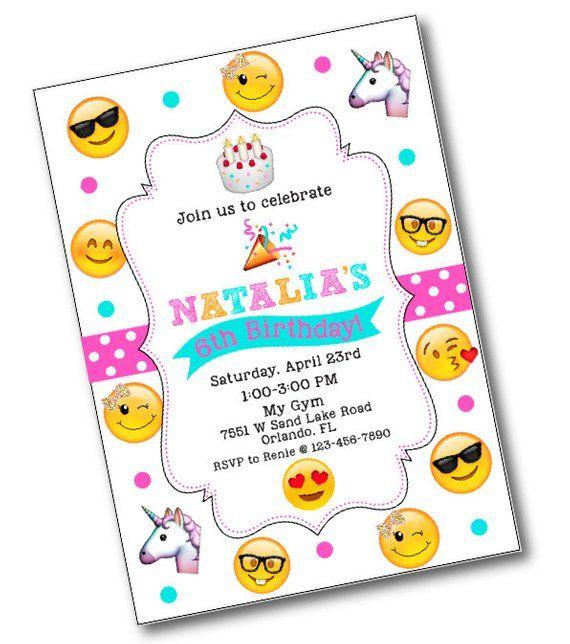 Glitter Bow Emoji Birthday Party Invitation Emojis Unicorn Emoj