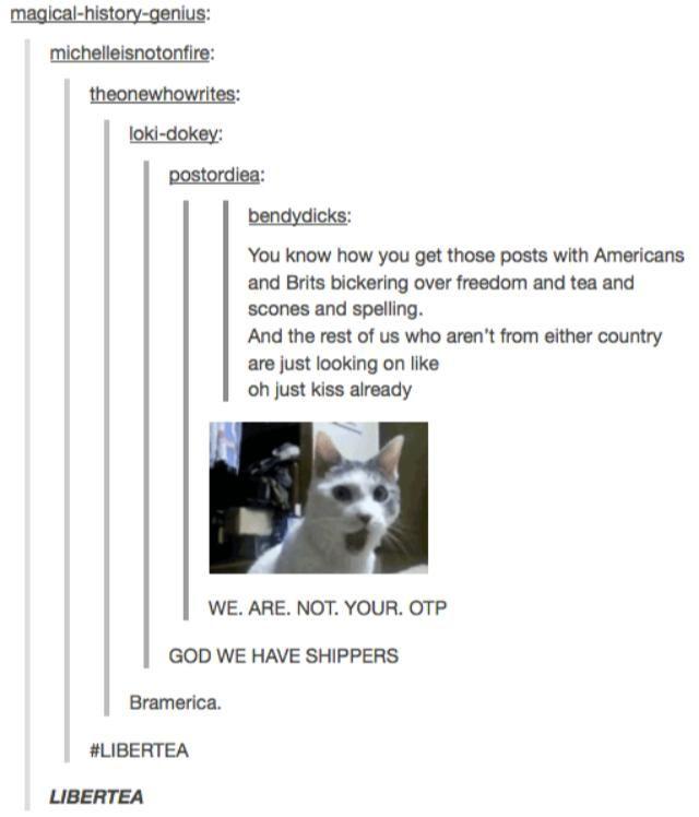 We are not your OTP.!!!!!!!!!!!!<should I be ashamed if I laughed at libertea?// LIBERTEA! *shots fired*