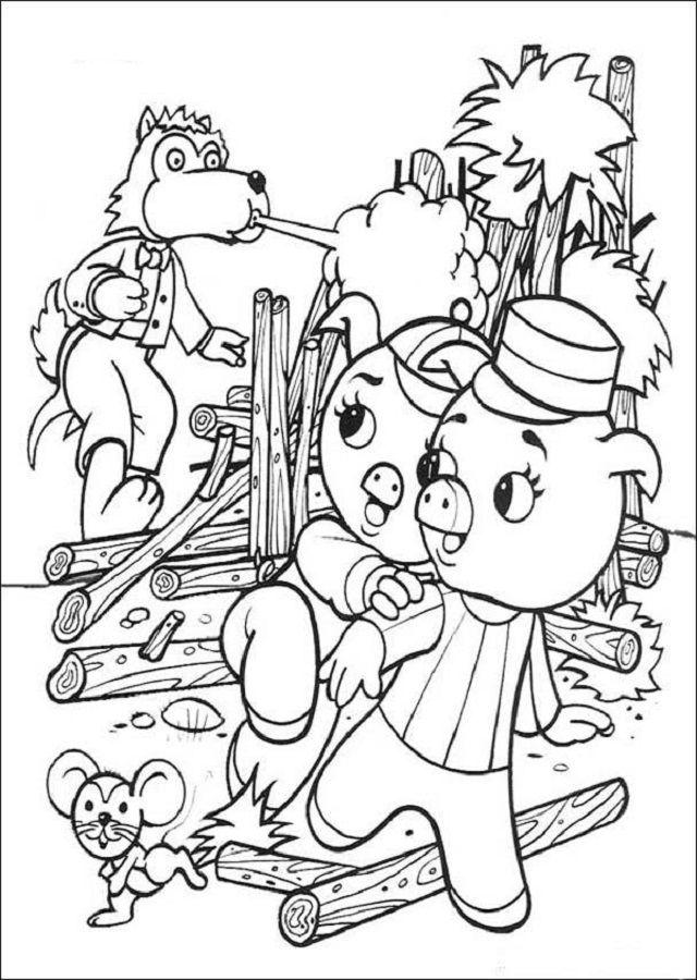 Mejores 7 imágenes de Dibujos para colorear los tres cerditos en ...
