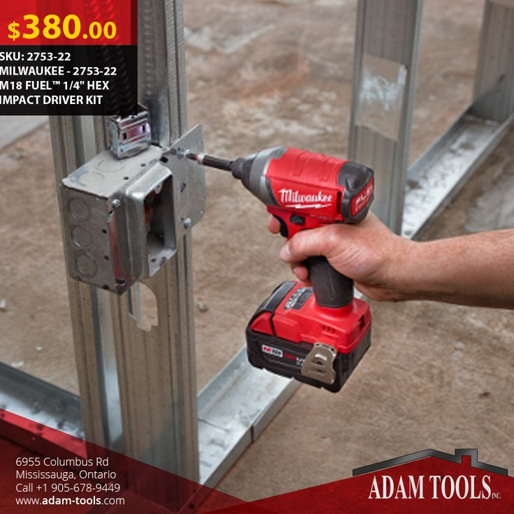 """Now available at Adam tools with great price MILWAUKEE - 2753-22 M18 FUEL™ 1/4"""" HEX IMPACT DRIVER KIT Visit our website for more information and special offers ...  http://www.adam-tools.com/2753-22-m18-fueltm-1-4-hex-impact-driver-kit.html #canada #mississuaga #power_tools #building_supplies #adamtools #shop_online #buy_online #Powertools #tools #Sawzall #Milwaukee #Milwaukeetools"""
