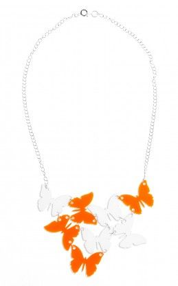 """Satu"" Butterfly necklace in White and Orange. Kivimeri.com. Made in Finland. #butteflies #kivimeri #wonderland #summer #fashiontrend #whattowear #beautiful"