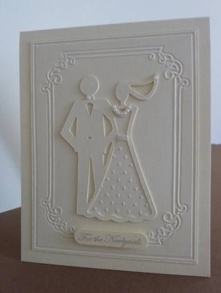 Simple Wedding Card with bride and groom from Stretch Your Imagination Cricut cartridge and embossed skirt and layer