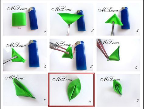 Elena Shimanskaya kanzashi leaf tutorial