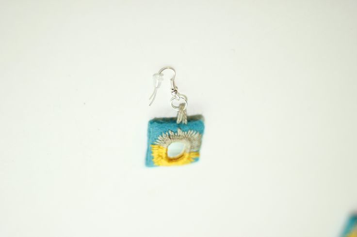 Sunshine Embroidery Earring by BaluchEmbroidery on Etsy