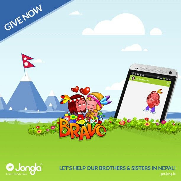 Let's help our brothers & sisters in Nepal, together.  For the next 2 (two) weeks, @jongla will donate net revenues of the new Bravo sticker sales to the Finnish Red Cross who help the earthquake victims in Nepal.  Helping is easy! Download Jongla for free in http://Get.Jong.la, and buy the new, unique Bravo sticker pack!  I did! Now it's your turn!