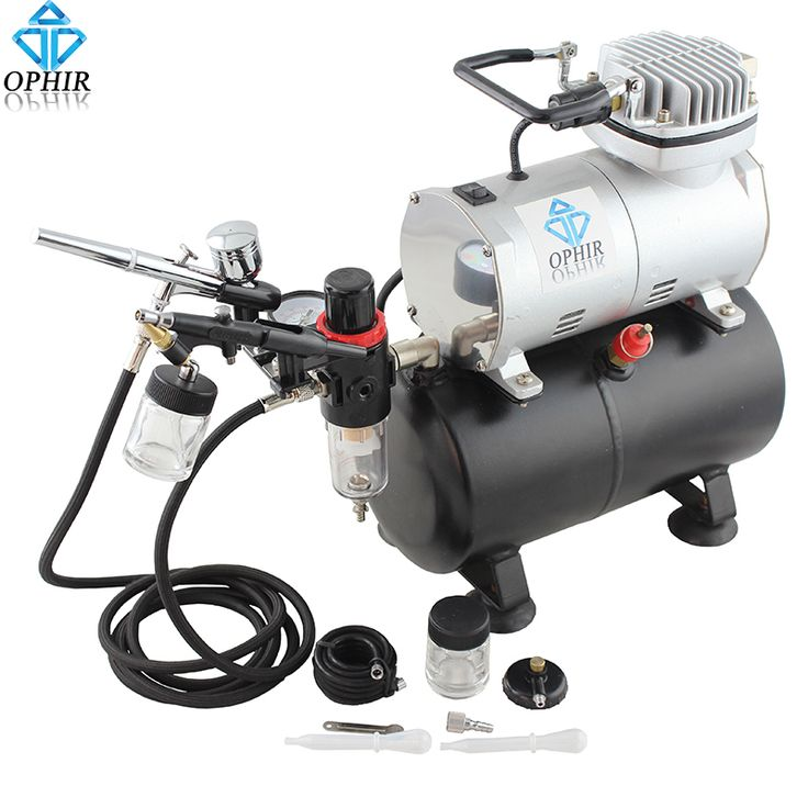 OPHIR Dual-Action Airbrush Kit with Air Tank Compressor for Hobby Cake Painting Tanning Airbrush Compressor Set _AC090+004A+071