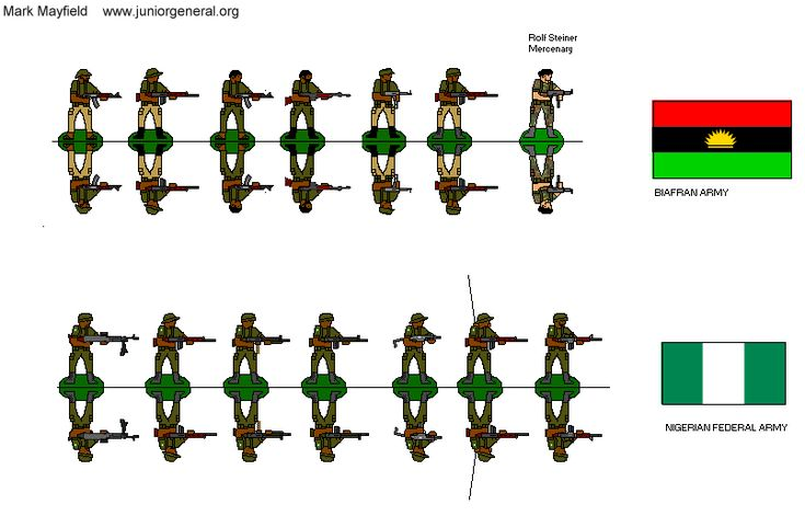 Title : Nigerian Civil War (1967-1970) Description : Mix of modern weapons, Biafran Army and Nigerian Federal Army Designer : Mark Mayfield