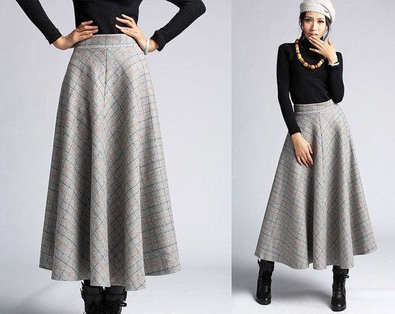 Plaid Wool skirt winter maxi skirt (412)