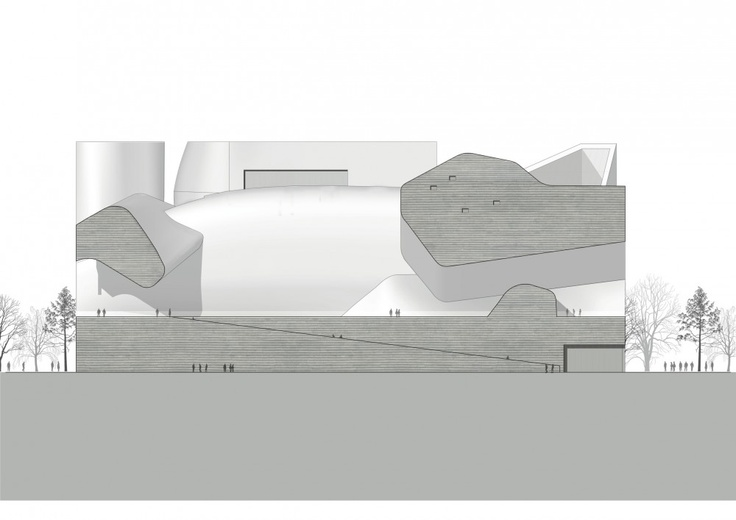 Tianjin Ecocity Ecology and Planning Museums / Steven Holl Architects. Ecology Museum West Elevation
