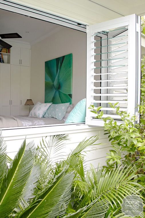 Plantation shutters are gorgeous for indoors, but when you're looking for external blinds, try aluminum indoor/outdoor shutters...Vintage Florida Beach Side Bungalow..similar to Jalousie Windows.