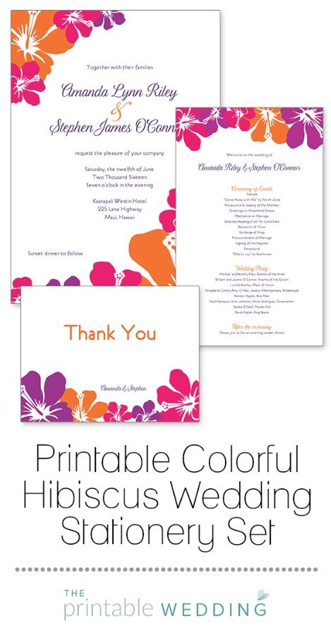 Alluring tropical flowers adorn these Hawaiian inspired designs. Bright orange, pink and purple create a striking color combination that is crisp and bright. Ideal for a beach, Hawaiian or island themed wedding. | Printable Colorful Hibiscus Wedding Stationery Set from #ThePrintableWedding