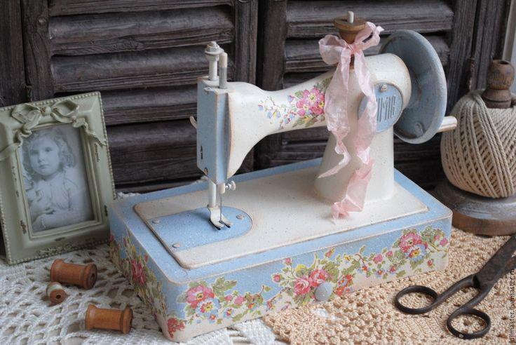 """Купить Машинка швейная детская """"Цветочная"""" декупаж - машинка швейная, машинка декупаж, машинка детская"""