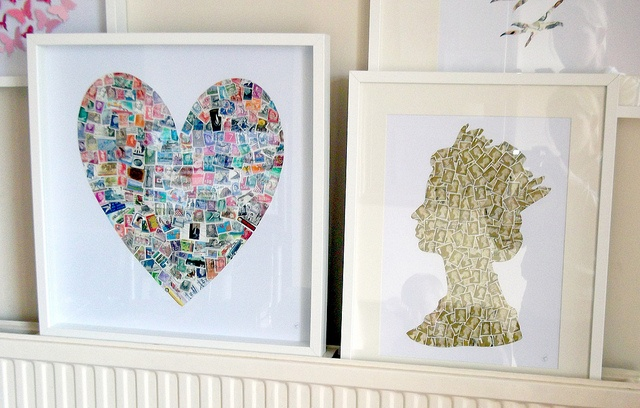 Postage stamp art. I've made a heart shaped one using stamps with warm red, orange and pink tones. Looks great too!