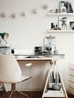 white desk.