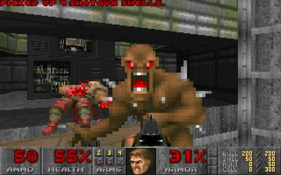 Doom (id Software, 1993, PC). Predecessor Wolfenstein was cool (mein leben!) but doom was insane! Not just the enemies, but also adding verticality to the level design. Absolute classic from id Software.