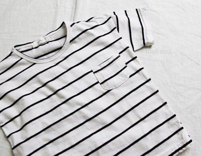 Kids Boys Girls Black Striped T-shirt White / 3T #Unbranded