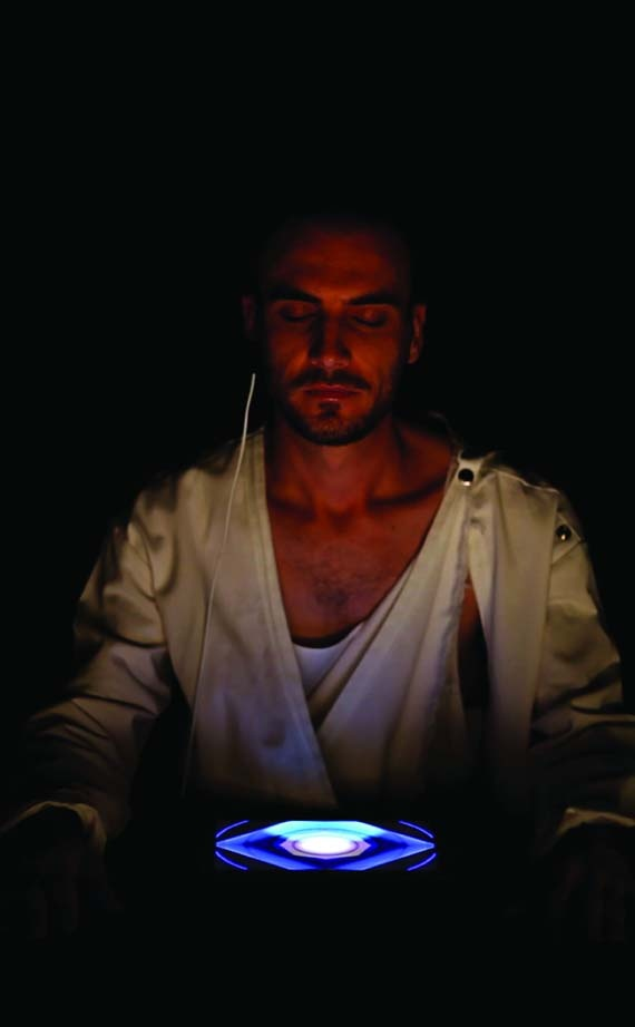 George Poonkhin Khut, Australia, Distillery: Waveforming (Portrait of Rob) 2012; Still from video portraits of sitters interacting with heart rate controlled composition software for iPad; Photograph by: Julia Pendrill Charles