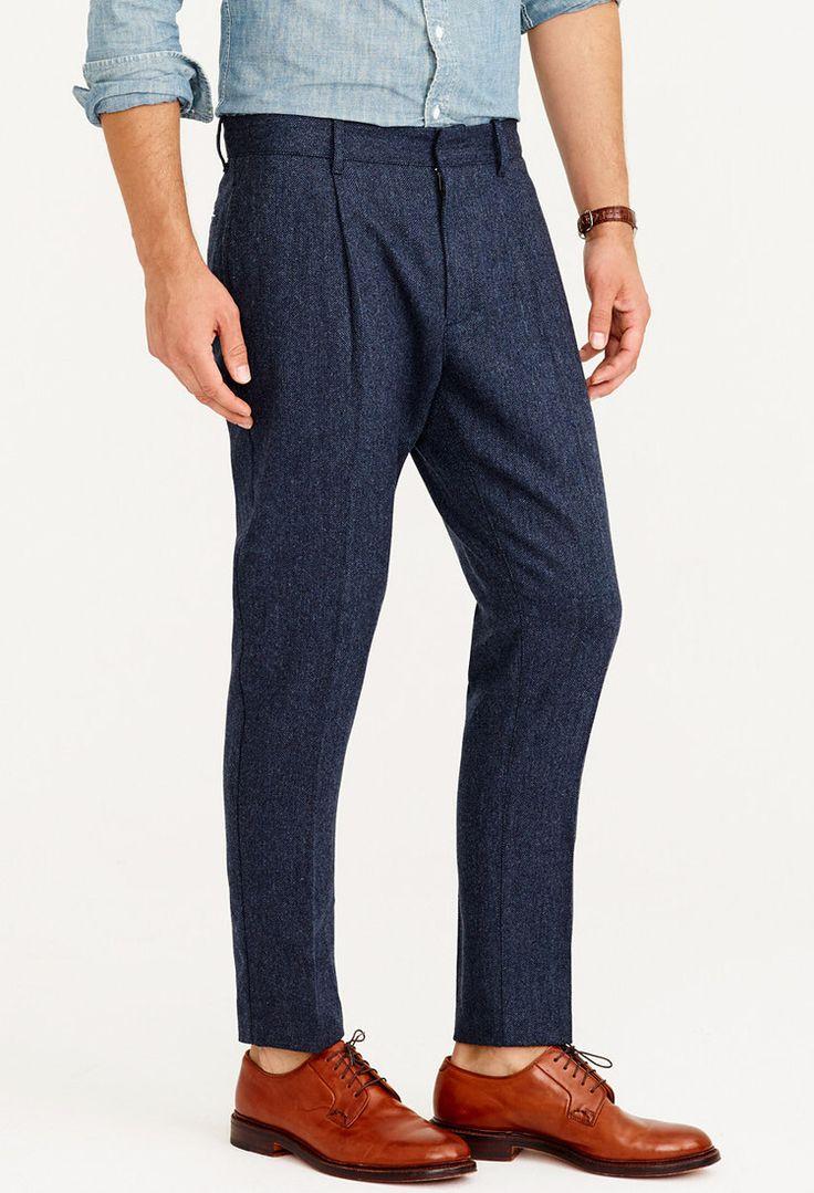 J Crew - Wallace & Barnes herringbone wool pleated tapered trouser